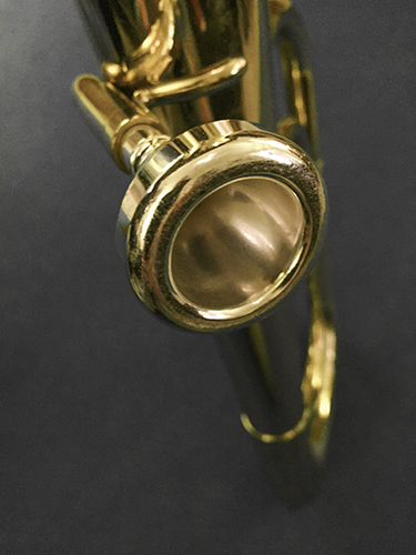 A baritone horn mouthpiece